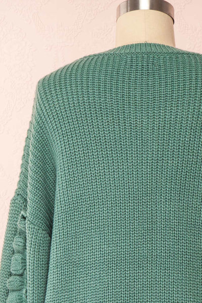 Idelle Green Knit Sweater w/ Frills on Sleeves | Boutique 1861 back close-up