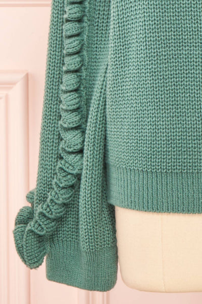 Idelle Green Knit Sweater w/ Frills on Sleeves | Boutique 1861 bottom