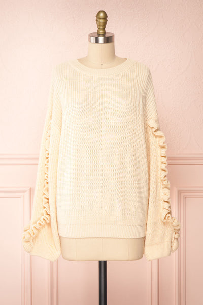 Idelle Ivory Knit Sweater w/ Frills on Sleeves | Boutique 1861 front view