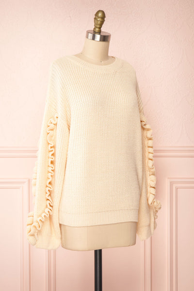 Idelle Ivory Knit Sweater w/ Frills on Sleeves | Boutique 1861 side view