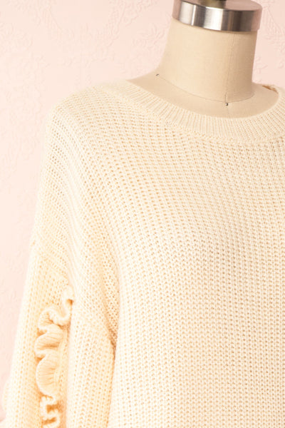 Idelle Ivory Knit Sweater w/ Frills on Sleeves | Boutique 1861 side close-up