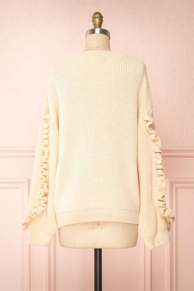 Idelle Ivory Knit Sweater w/ Frills on Sleeves | Boutique 1861 back view