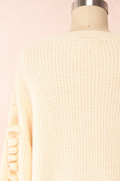 Idelle Ivory Knit Sweater w/ Frills on Sleeves | Boutique 1861 back close-up