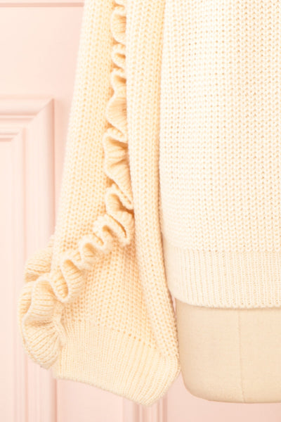 Idelle Ivory Knit Sweater w/ Frills on Sleeves | Boutique 1861 bottom