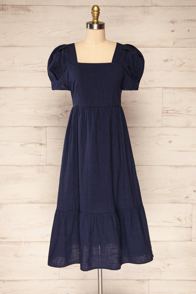 Igor Navy Layered Square Neck Midi Dress | La petite garçonne front view