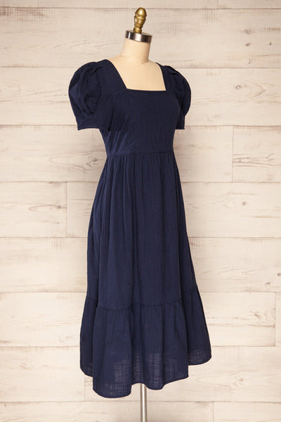 Igor Navy Layered Square Neck Midi Dress | La petite garçonne side view