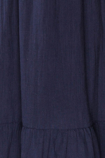 Igor Navy Layered Square Neck Midi Dress | La petite garçonne fabric