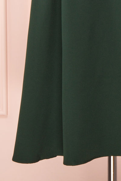 Iktomi Green A-Line Midi Dress w/ V Neck skirt | Boutique 1861