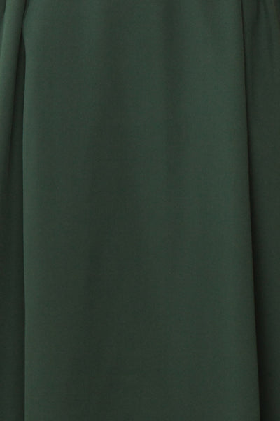 Iktomi Green A-Line Midi Dress w/ V Neck fabric | Boutique 1861