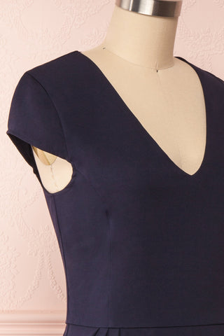 Iktomi Navy A-Line Midi Dress w/ V Neck side close up | Boutique 1861