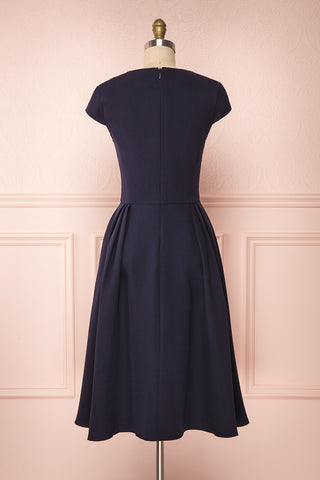Iktomi Navy A-Line Midi Dress w/ V Neck back view | Boutique 1861