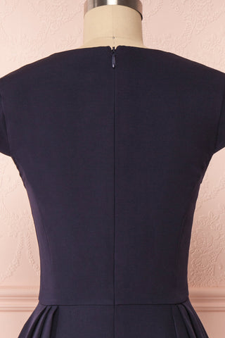 Iktomi Navy A-Line Midi Dress w/ V Neck back close up | Boutique 1861