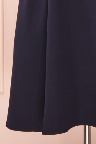 Iktomi Navy A-Line Midi Dress w/ V Neck skirt | Boutique 1861