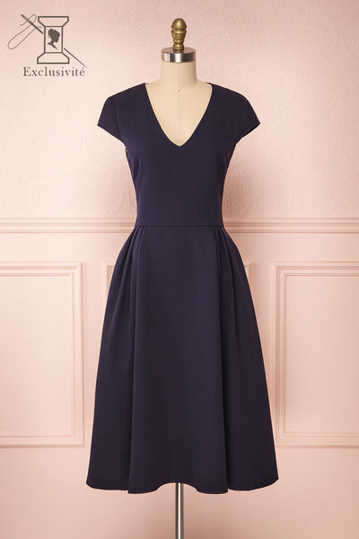 Iktomi Navy A-Line Midi Dress w/ V Neck front view | Boutique 1861
