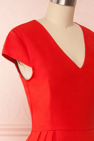 Iktomi Red A-Line Midi Dress w/ V Neck side close up | Boutique 1861