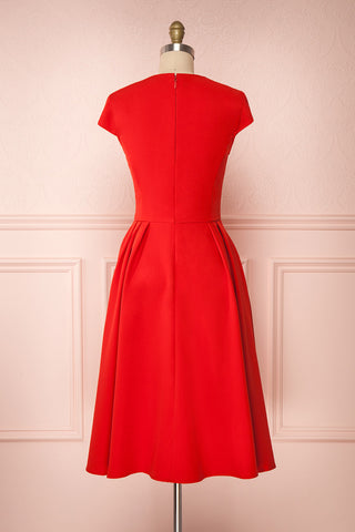Iktomi Red A-Line Midi Dress w/ V Neck back view | Boutique 1861