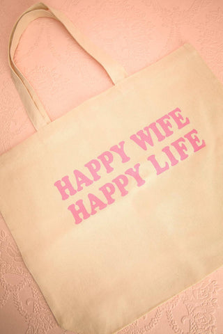 "Maxixe - ""Happy wife happy life"" print tote bag"