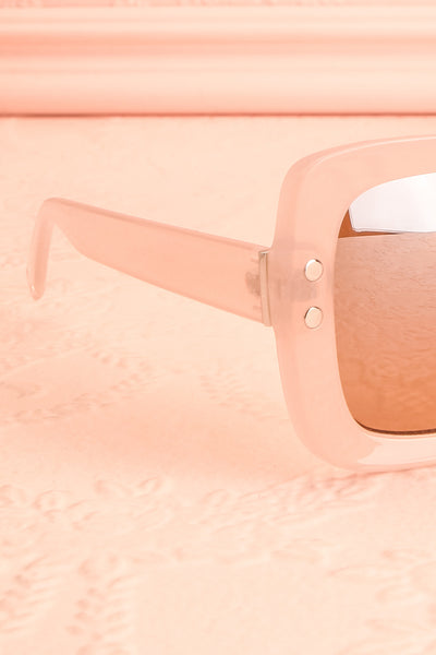 Illustris Pale Pink Butterfly Sunglasses side close-up | Boutique 1861