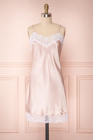 Imabari Light Pink Satin Slip Dress with Lace | Boudoir 1861