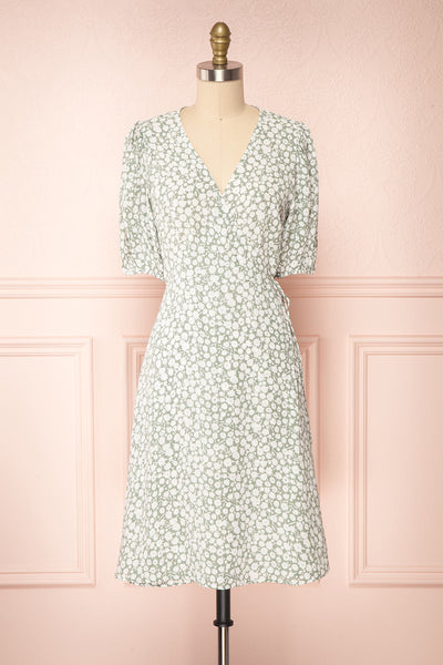 Indra Light Green Floral A-Line Wrap Dress | Boutique 1861 front view