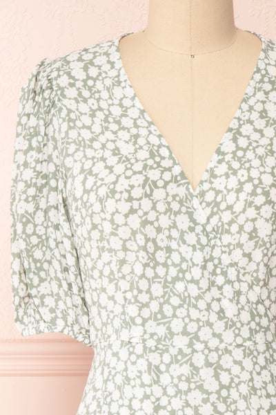 Indra Light Green Floral A-Line Wrap Dress | Boutique 1861 front close-up