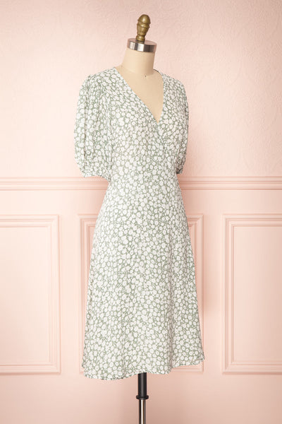 Indra Light Green Floral A-Line Wrap Dress | Boutique 1861 side view