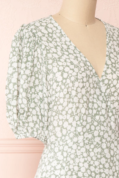 Indra Light Green Floral A-Line Wrap Dress | Boutique 1861 side close-up