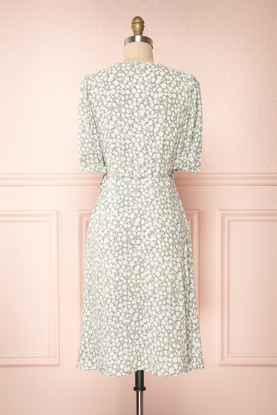 Indra Light Green Floral A-Line Wrap Dress | Boutique 1861 back view