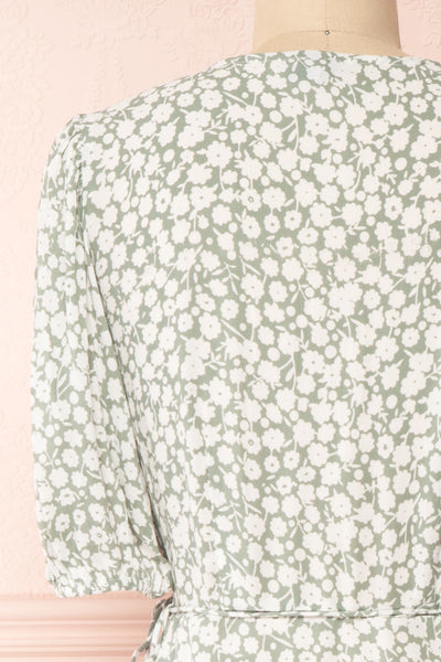 Indra Light Green Floral A-Line Wrap Dress | Boutique 1861 back close-up