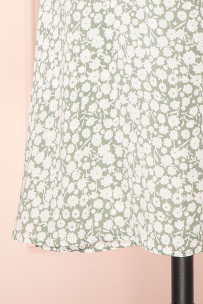 Indra Light Green Floral A-Line Wrap Dress | Boutique 1861 bottom