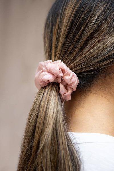 Indus Pink Iridescent Hair Scrunchie | Boutique 1861 on model