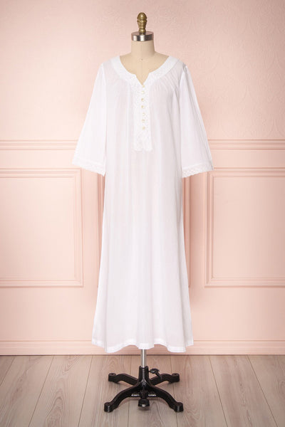 Inuyama White Loose Maxi Nightie Dress | Boutique 1861 front view