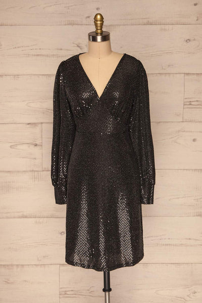 Ioannina Black & Silver Sequin Party Dress front view | La Petite Garçonne