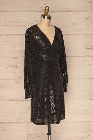 Ioannina Black & Silver Sequin Party Dress side view | La Petite Garçonne