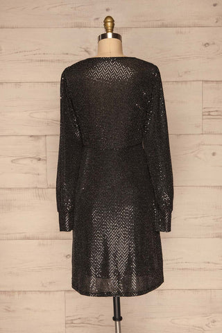 Ioannina Black & Silver Sequin Party Dress back view | La Petite Garçonne