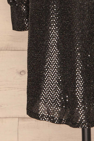 Ioannina Black & Silver Sequin Party Dress bottom close up | La Petite Garçonne