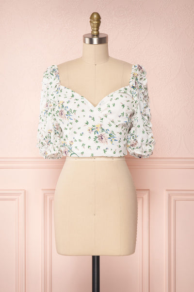 Irdite Blanc White Floral Chiffon Wrap Crop Top | Boutique 1861 1