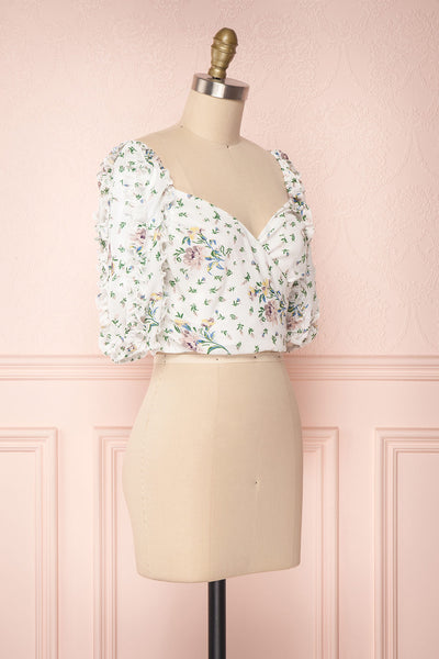 Irdite Blanc White Floral Chiffon Wrap Crop Top | Boutique 1861 3