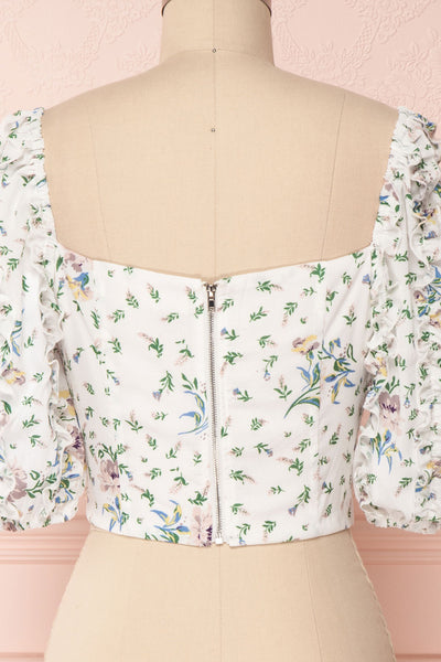 Irdite Blanc White Floral Chiffon Wrap Crop Top | Boutique 1861 6