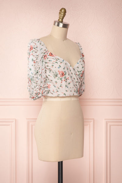 Irdite Taupe Floral Chiffon Wrap Crop Top | Boutique 1861 3
