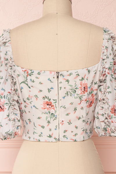 Irdite Taupe Floral Chiffon Wrap Crop Top | Boutique 1861 6