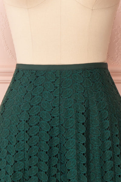 Irinushka Forest Green Lace A-Line Midi Skirt | Boutique 1861 front close-up
