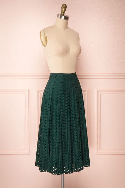 Irinushka Forest Green Lace A-Line Midi Skirt | Boutique 1861 side view