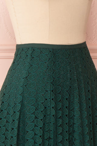 Irinushka Forest Green Lace A-Line Midi Skirt | Boutique 1861 side close-up