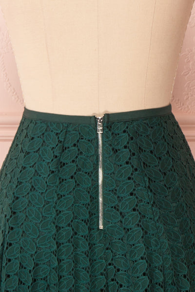 Irinushka Forest Green Lace A-Line Midi Skirt | Boutique 1861 back close-up