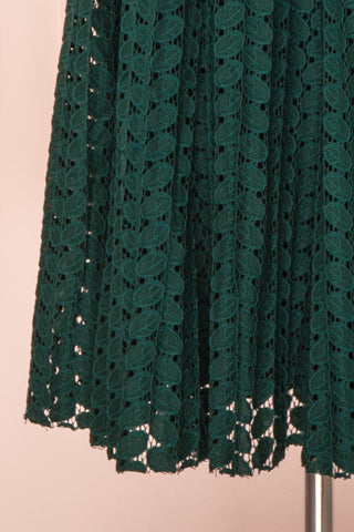 Irinushka Forest Green Lace A-Line Midi Skirt | Boutique 1861 bottom close-up