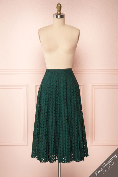 Irinushka Forest Green Lace A-Line Midi Skirt | Boutique 1861 front view