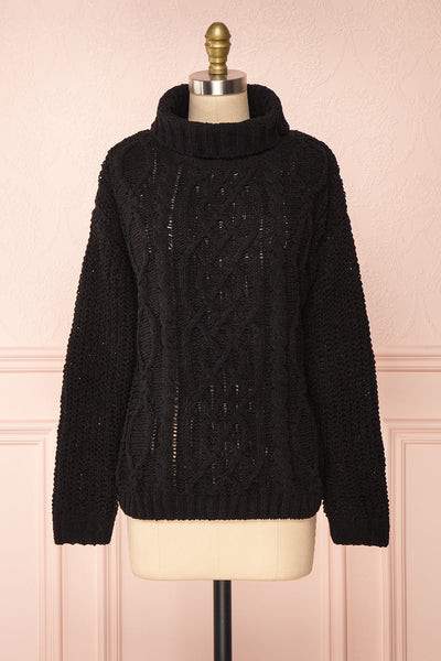 Irma Black Turtleneck Knit Sweater | La petite garçonne front view