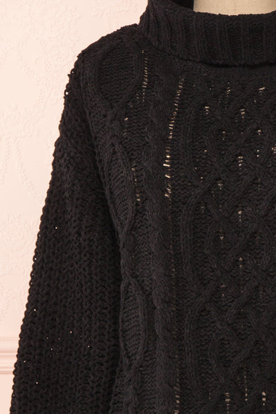Irma Black Turtleneck Knit Sweater | La petite garçonne front close-up