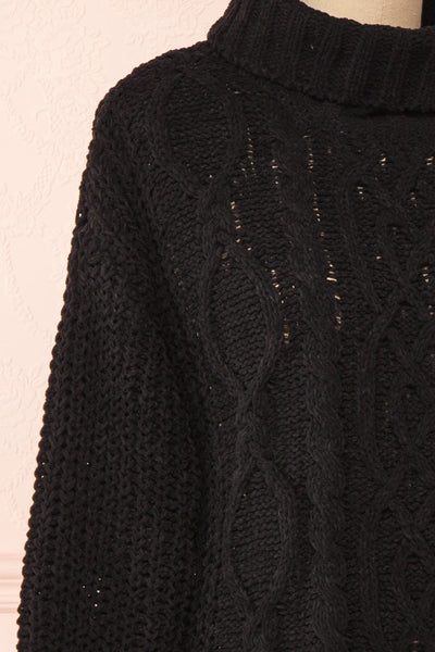 Irma Black Turtleneck Knit Sweater | La petite garçonne side close-up